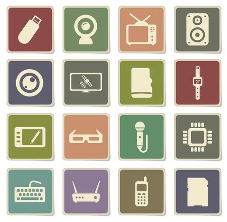 satellite tv: Gadgets label icons for web Illustration