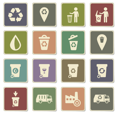 treatment plant: Garbage label icons for web Illustration