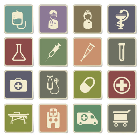 catheters: Medical label icons for web Illustration