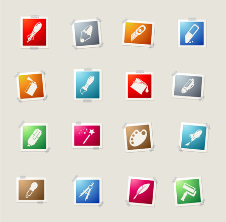 drawing compass: Design tools card icons for web Vectores