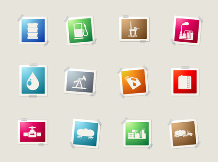 fossil fuel: Oil and petrol industry card icons for web Illustration