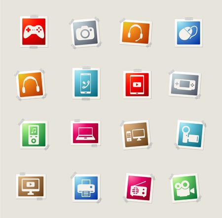 desktop printer: Gadgets card icons for web