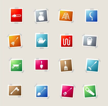 leveling: Garden tools card icons for web