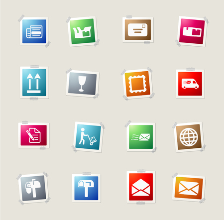 news van: Post service card icons for web Illustration