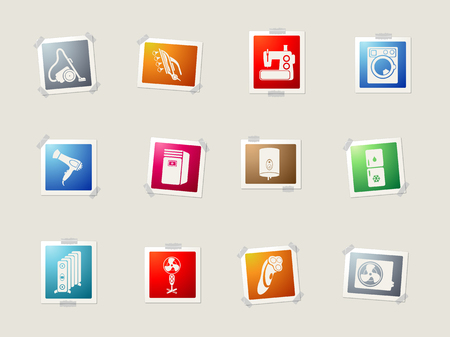 flatiron: Home Appliances card icons for web Illustration