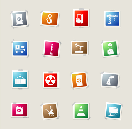 jumpsuit: Industrial card icons for web Illustration