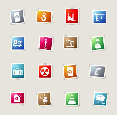 Industrial card icons for web Ilustração
