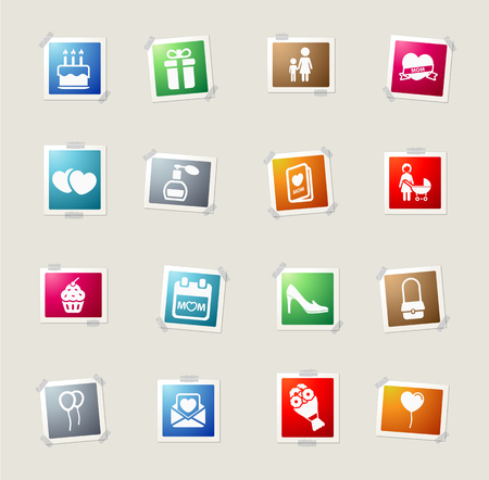 mothers day card: Mothers day card icons for web Illustration