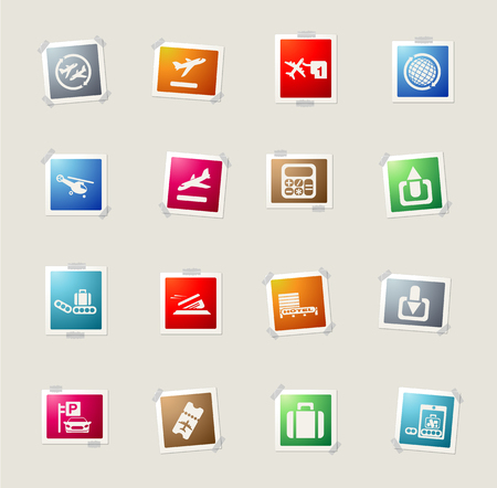 customs official: Airport card icons for web
