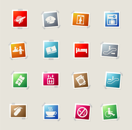 customs official: Airport. card icons for web