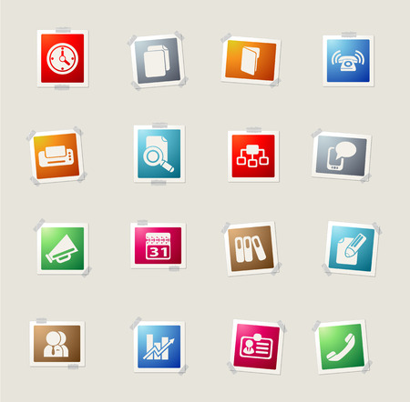 note pad and pen: Business card icons for web