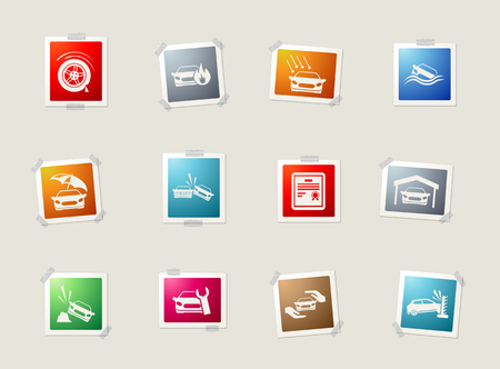 auto accident: Car Insurance card icons for web
