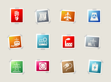 coal power station: Energy and Industry card icons for web