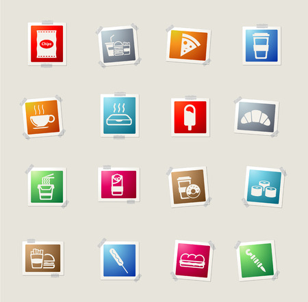 rice plate: Fast food card icons for web Illustration