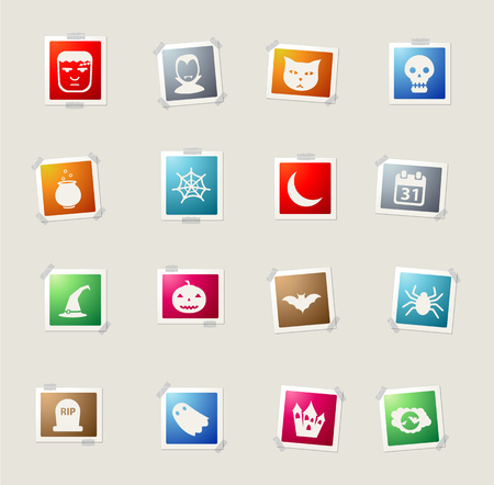 abandoned house: Halloween card icons for web Illustration