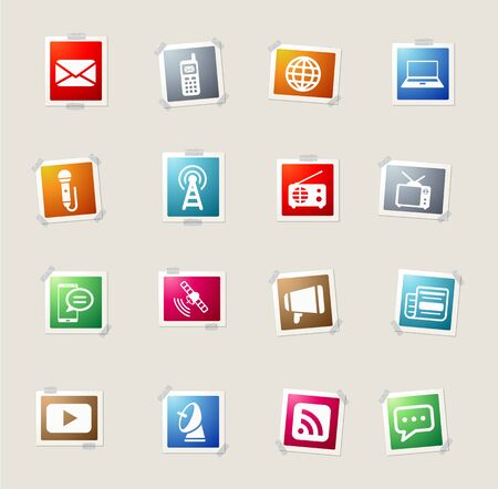 tv tower: Media card icons for web Illustration