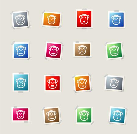 desconfianza: Mono de los iconos de tarjetas de emociones para web Vectores