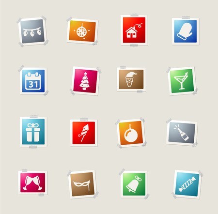 champagne pop: New year card icons for web