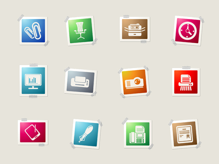 writing chair: Office card icons for web