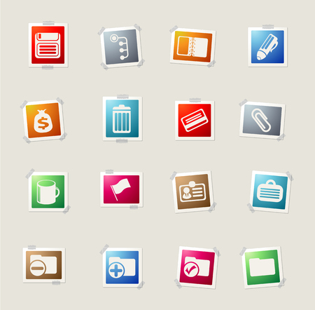 note pad and pen: Office card icons for web