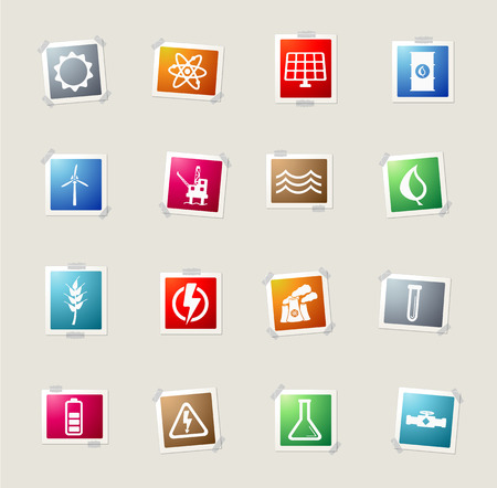 power generation: Power generation card icons for web Illustration