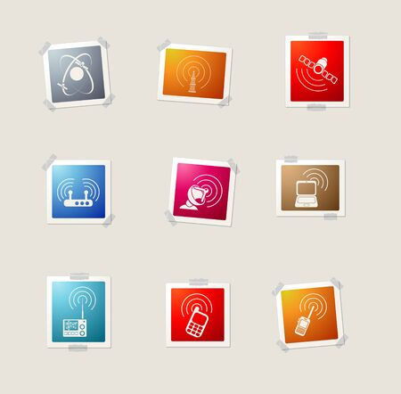 communications tower: Radio signal card icons for web Illustration