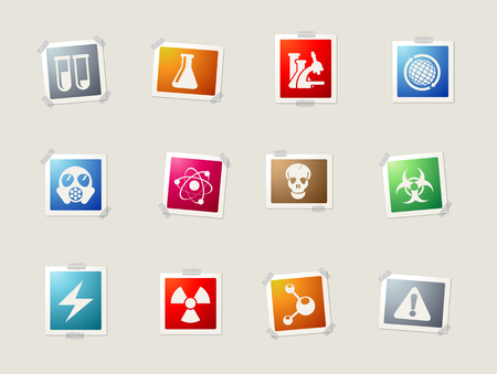 gas mask warning sign: Science card icons for web Illustration