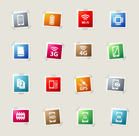 smarthone: Smarthone specs card icons for web Illustration