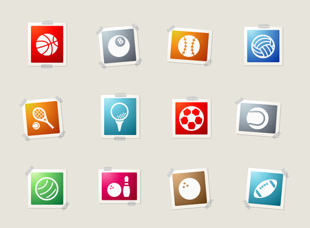 player: Sport balls card icons for web