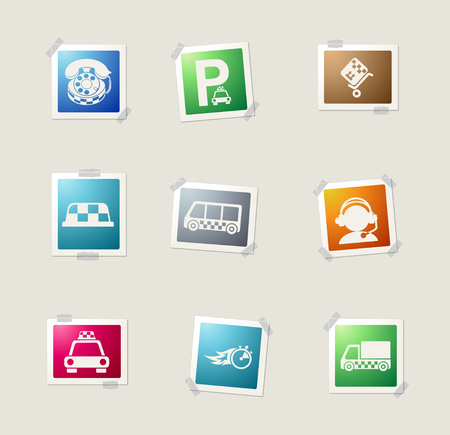 Symbols of taxi services card icons for web