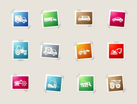 mover: Symbols of Transportation & Loading Machines card icons for web