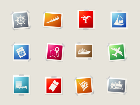 paper currency: Travel card icons for web