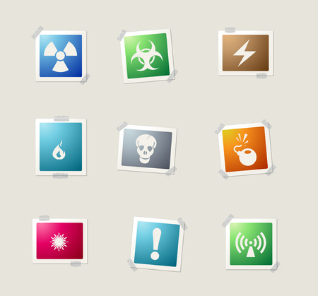 hazardous waste: Hazard Sign card icons for web