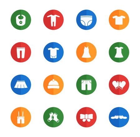 Babykleidung flache Ikonen für Web Vektorgrafik