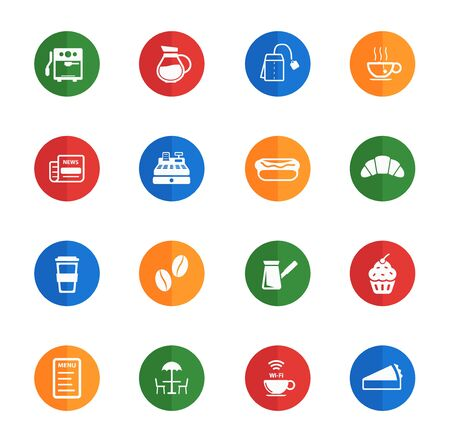 turkish dessert: Cafe flat icons for web