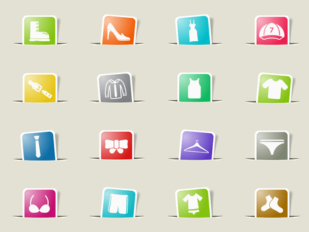 button down shirt: Clothes paper icons for web Illustration