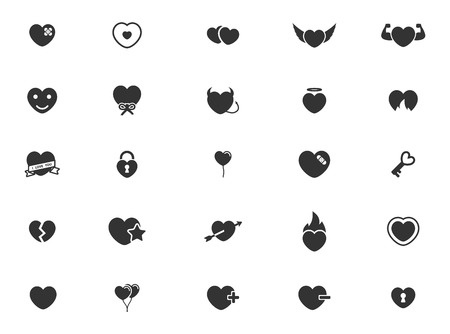 romantic couples: Heart simple icons for web