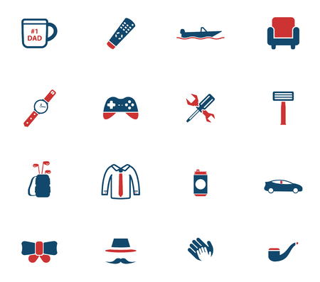 to tie: Fathers day simply icons for web Illustration