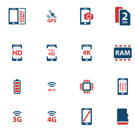 Smarthone specs simple icons for web Vectores
