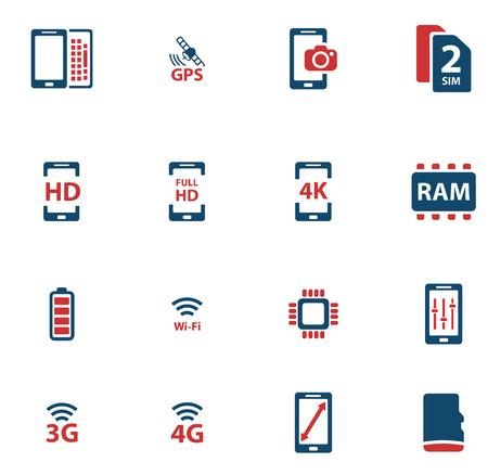 Smarthone specs eenvoudige iconen voor web Stockfoto - 50994690