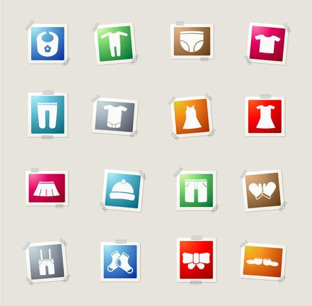Babykleidung Karte Icons für Web