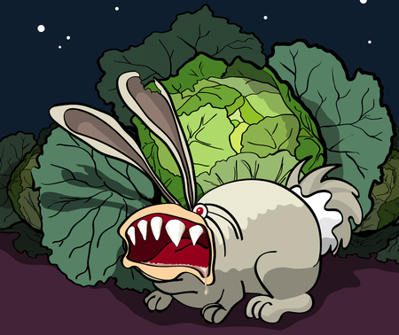 beastly: Cartoon illustration of an angry bunny guards cabbage