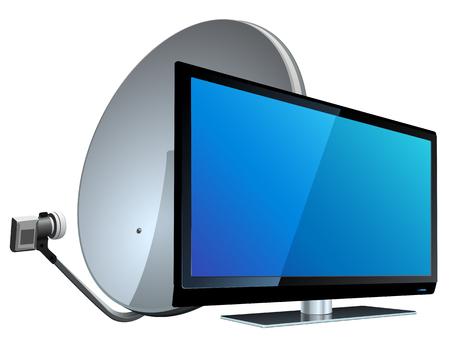 satellite tv: TV with Satellite antenna. Vector illustration in eps 10