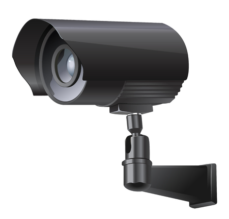 closed circuit television: Surveillance camera viewed from the side, isolated on a white background.