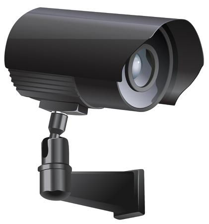 Überwachungskamera von der Seite, auf einem weißen Hintergrund betrachtet.