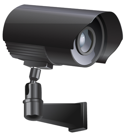 monitored area: Surveillance camera viewed from the side, isolated on a white background.
