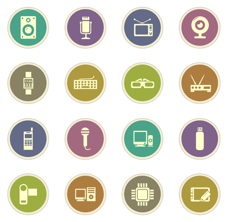 desktop printer: Gadget vector icons for web sites and user interfaces Illustration