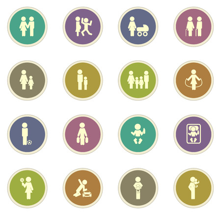 father and son holding hands: Family vector icons for web sites and user interfaces