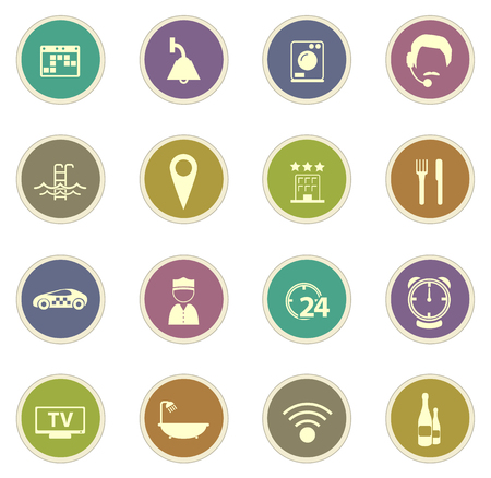 hotel room: Hotel room vector icons for web sites and user interfaces