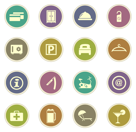 double bad: Hotel room vector icons for web sites and user interfaces